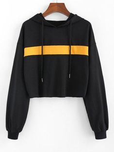 ZAFUL Colorblock Drop Shoulder Crop Hoodie BLACK - They are beautiful, lovable and affordable. You deserve it! Source by inspiredpros - Crop Top Outfits, Hipster Outfits, Edgy Outfits, Preppy Outfits, Simple Outfits, Outfits For Teens, Black Outfits, Work Outfits, Dress Outfits