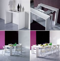 white convertible dining table - http://www.resourcefurniture.com/space-savers/space-saving-tables/goliath