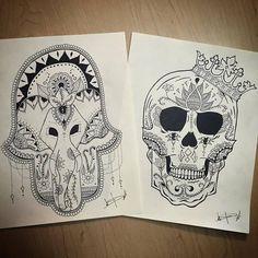 FATIMA'S HAND / SUGAR SKULL #draw #art #zentangle #doodle #artbycandy