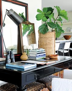 basket plant for home office Coffee Table Styling, Rustic Office, Canada, Home Office Decor, Home Decor, Rustic Industrial, Pacific Coast, Inspired Homes, Interiores Design