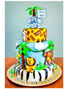 Jungle and safari animal theme baby shower cake: 11 totally fun cake-decorating ideas.