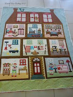 dollhouse quilt- wow doesn& even start to describe this! Quilting Projects, Quilting Designs, Sewing Projects, Quilt Baby, Dollhouse Quilt, Landscape Quilts, Doll Quilt, Girls Quilts, Applique Quilts