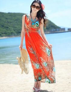 Tropical Profusion Peacock Feather Printed Tank Dress, Shop online for $11.70 Cheap Dresses code 717115 - Eastclothes.com