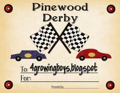 Pinewood Derby Certificate Printable Pack Meeting Cars Boy Scouts Tiger Cub