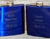 Wedding party favors, Set of 2 engraved Flasks, Groomsmen flask, Best man flask, Custom engraved 6oz flask., flask, personalized flask,