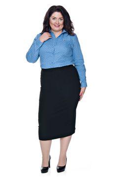 Niebieska bluzka koszulowa w szare kropki - Modne Duże Rozmiary