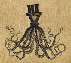 Octopus in a top hat - vintage steampunk Victorian illustration - 8x10 digital downloadable printable image for burlap, fabric transfer, prints ... anything! $1.80, via Etsy.