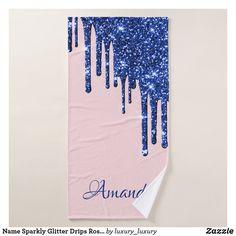 Name Sparkly Glitter Drips Rose Blue Navy Glam Bath Towel Glitter Home Decor, Artwork Design, Bath Towels, Print Design, Create Your Own, Vibrant, Navy, Rose, Prints
