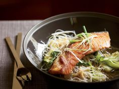Salmon and Bok Choy with Rice Noodles