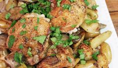 Serious Eats Skillet Chicken Potatoes and Mushrooms - Dinner in 45 minutes Chicken Potatoes, Mushroom Chicken, Skillet Chicken, Fingerling Potatoes, Roasted Chicken, Chicken Thighs, Gallus Gallus Domesticus, Cooking Recipes, Chicken
