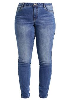 "Junarose. JRFIVE STRIPE TRIM - Slim fit jeans - medium blue denim. Fit:Slim. Outer fabric material:79% cotton, 18% polyester, 3% spandex. Our model's height:Our model is 68.5 "" tall and is wearing size 16. Care instructions:do not tumble dry,machine wash at 30°C,A..."