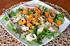 salad with arugula, spinach, deli chicken, leftover roasted butternut squash, gorgonzola, toasted walnuts, dried cranberries, avocado, pears and maple dijon balsamic vinaigrette. Loved switching up the cheese with the gorgonzola. Gave it a kick!