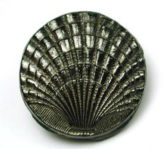 Antique Black Glass Button Sea Shell Design w Silver Luster Med Sz   eBay