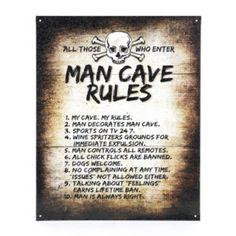 Cole's room I think Man Cave Rules Tin Plaque | Kirkland's