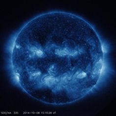 The sun as imaged by the Solar Dynamics Observatory on October 8, 2014 in 335 angstrom extreme ultraviolet light. (NASA/SDO)