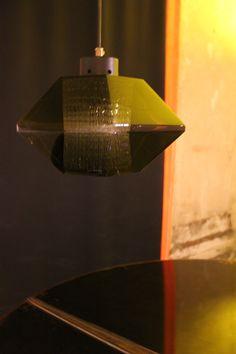 Karl Fagerlund, Lamp, 1960, Italy.  #erastudioapartmentgallery #erastudio #designgallery #collectibledesign #italiandesign #historicaldesign #karlfagerlund #lamp #pendantlamp #vintage #sixties #crystal #mirro #interiordiffuser #texturedglass