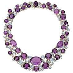 Verdura Amethyst Aquamarine Gold Necklace 1