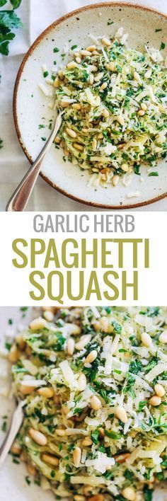 Garlic Spaghetti Squash with Herbs + pine nuts and Gruyère cheese. 300 calories.   http://pinchofyum.com