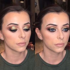 💄💄M A K E - U P 💄💄 Cut crease smokey eye look using gold glitter by Holly.  After being off on maternity leave, Holly has recently completed the Nikki Marshall Intermediate Make-Up course advancing her skills ready for returning to the salon. She will be using our in salon range Delilah Cosmetics and Mac on clients.  Beauty appointments available Thurs-Sat (evening bookings available on request) #edinburghmakeup #mua #makeupedinburgh #stockbridge #stockbridgesalon #stockbridgeedinburgh…