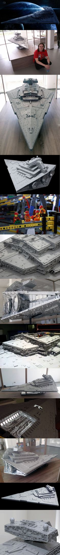 The biggest, most accurate Lego Imperial Star Destroyer ever built More than 40,000 bricks. 110 pounds (50 kilograms). 6.62 feet long (2.02 meters). 4.1 feet wide (1.25 meters). 1.9 feet tall (58 centimeters). Eight months of design and building. Those are the stats for the biggest, most accurate Lego Imperial Star Destroyer ever built.