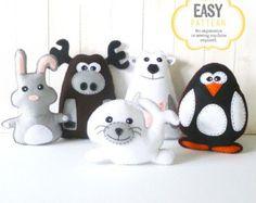 Stuffed Animal Sewing Patterns, Polar Animals, Arctic Animals, Plush Felt Polar Bear, Rabbit, Moose, Penguin & Seal Softies
