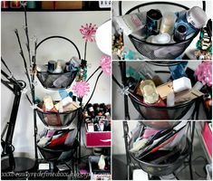 3 tier basket organizer - Where I store skincare, face makeup, and beauty samples
