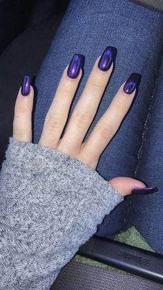 Superb Nail polish, top ideas 8316626069 to see today. Find great inspirations now! Acrylic Nails, Gel Nails, Metallic Nail Polish, Bunny Nails, Gothic Nails, Nail Time, Blue Nails, Purple Chrome Nails, Nagel Gel