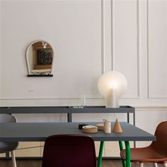"""A part of the """"Wrong for HAY"""" collection: """"Trion Table"""", """"Neu Chair"""" and """"Bent Wood Mirror"""". Hay Design, Design Tisch, Design Bestseller, London Design Festival, Bureau Design, Bent Wood, Printed Cushions, Revolver, Danish Design"""