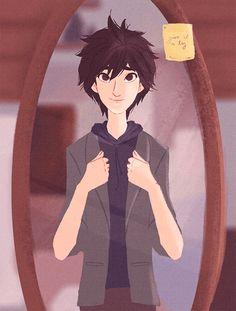 older Hiro trying on Tadashi's blazer