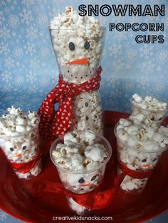 Creative Kid Snacks: Snowman Popcorn Cups from http://www.creativekidsnacks.com/2012/12/snowman-popcorn-cups.html#   Adorable, easy & healthy winter-time snack. Perfect for preschool or elementary school classes!