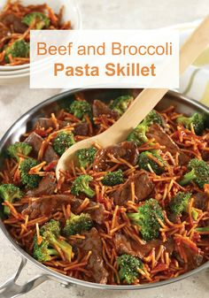 This Beef and Broccoli Pasta Skillet is a healthier recipe that's full of flavor and ready for dinner in just 30 minutes.