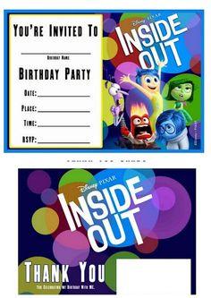 Fiesta de Del Revés o Inside Out: Invitaciones y Tarjetas para Imprimir Gratis.