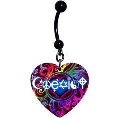Rainbow Coexist Heart Dangle Belly Ring | Body Candy Body Jewelry Belly Piercings, Belly Button Piercing, Belly Button Rings, Jewelry Tattoo, Body Jewelry, Jewellery, Punk Disney Characters, Dangle Belly Rings, Nose Stud