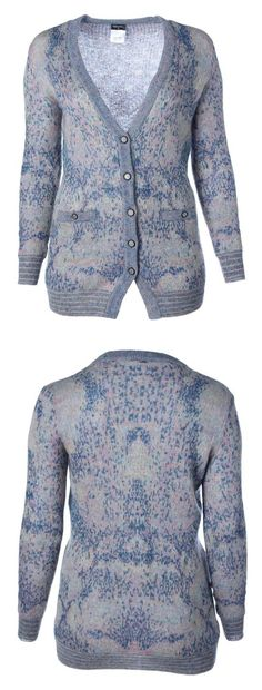 Chanel Womens Wool Mohair Cardigan Sweater Blue 40 #apparel #sweater #chanel #cardigans #sweaters #clothing #women #departments #shops