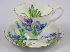 Royal Albert - Iris teacup and saucer. Oooh! I must have this!! How beautiful!