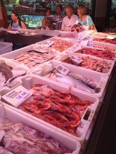 En el Mercado Central de Alicante hay diferentes tipos de mariscos por todas partes. El Mercado tiene calamares, pescado, pulpo, camaron, cangrejo y langosta. El mayor pescado es  el atun.El  atun es muy grande y puede medir hasta quince metros de largo.