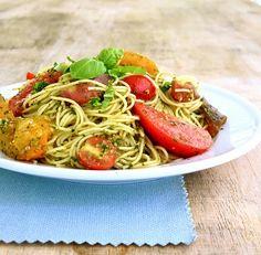 Angel Hair Pesto Heirloom Tomatoes Basil