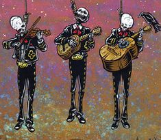 Looks like the mischievous Muertos Band will be paying their final encore for all time. Painting Process The 24 x 18 aquaboard was first painted with a variety of acrylics to create a colorful, hazy d