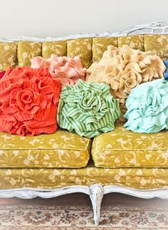 Ruffle Rose pillow from old sweaters; Love it, gotta make it! What a wonderful idea from old sweaters.