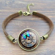 Vintage Steampunk Clock Butterfly Picture Bracelets & Bangles Glass Ca – Hespirides Gifts