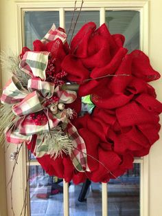 Who doesn't love a burlap wreath? We LOVE this holiday spin to the burlap wreath! Learn how to create your own here! Burlap Crafts, Wreath Crafts, Diy Wreath, Burlap Wreaths, Wreath Ideas, Door Wreaths, Burlap Christmas Wreaths, Burlap Garland, Burlap Projects