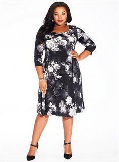 Plus Size Rashida Dress in Black Dahlia