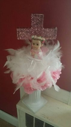 Baby Girl Christening/presentation feather by DesignsbyDazey