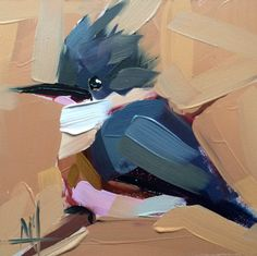 Belted Kingfisher no. 28 Original Oil Painting by Angela Moulton 6 x 6 inch on Panel pre-order by prattcreekart on Etsy