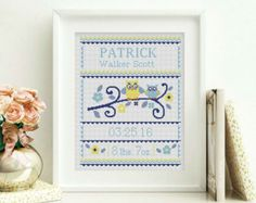 Owls - cross stitch baby birth sampler - cross stitch pattern  SIZE: Dimensions (14-count aida): 12.2 x 9.4 inches / 31.75h x 24.67w cm (18-count aida): 9.4 x 7.5 inches / 24.69h x 19.19w cm DMC Colors: 5 Fabric: Any fabric you like Types of stitches: Cross stitch only Skill Level: Easy  ONLY PATTERN! This PDF file counted cross stitch pattern is available for instant download.  This PDF pattern Included: - Cross stitch instructions - Color image of the finished design - Color Block...