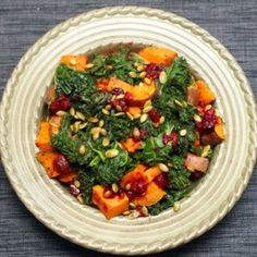 Sweet Potato and Kale Salad with Cranberry-Chipotole Sauce