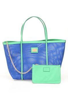 Dolce & Gabbana Woven Tote In Blue & Green