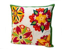 """Bright, bold, and stunning..."""" Botanica Trio"""" Susan Sargent 18"""" pillow, available at Rennie & Rose  $99.95"""