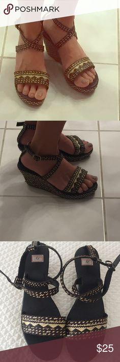 Unique market find Sandals Brand new summer sandals found in market in Ecuador. Straps are a little loose for me. Size 38 but fits like at 7.5. Black and cream fun basket weave pattern Shoes Sandals