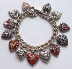 eCharmony Charm Bracelet Collection - Vintage Red Puffy Hearts - Click Image to Close Black Gold Jewelry, Turquoise Jewelry, Antique Jewelry, Vintage Jewelry, Gothic Jewelry, Love Bracelets, Charm Bracelets, Pandora Bracelets, Vintage Charm Bracelet